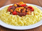 Couscous with veal, cauliflower and peppers