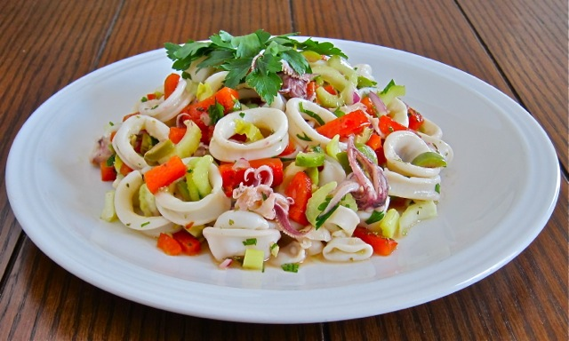 ... calamari roasted peppers sauteed calamari with parsley and garlic