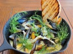 Mussels steamed in a white wine and fennel broth with mascarpone